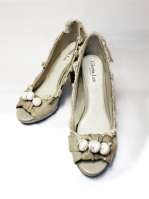 Taupe Suede Recycled Sequins Pumps