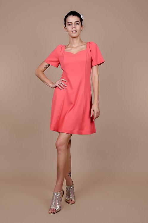 Coral Crepe A-Line Dress