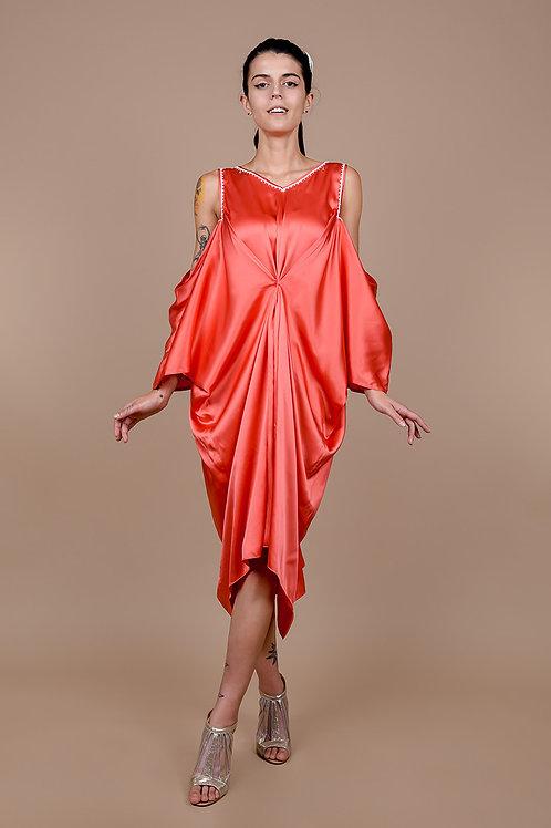 Coral Beaded Silk Drapery Dress
