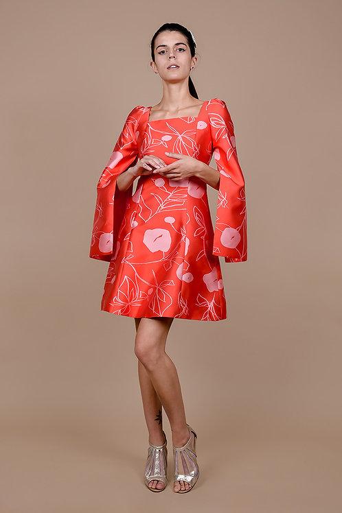 Floral Damask Satin Dress
