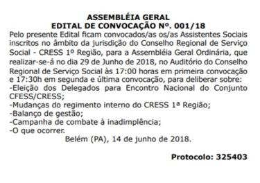 ASSEMBLÉIA GERAL DO CRESS/PA