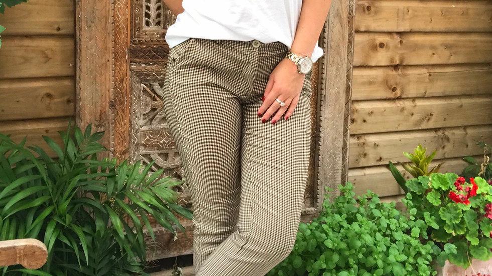 Pantalon à carreaux brun