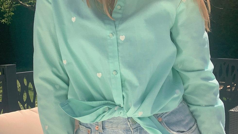 Chemise vert d'eau