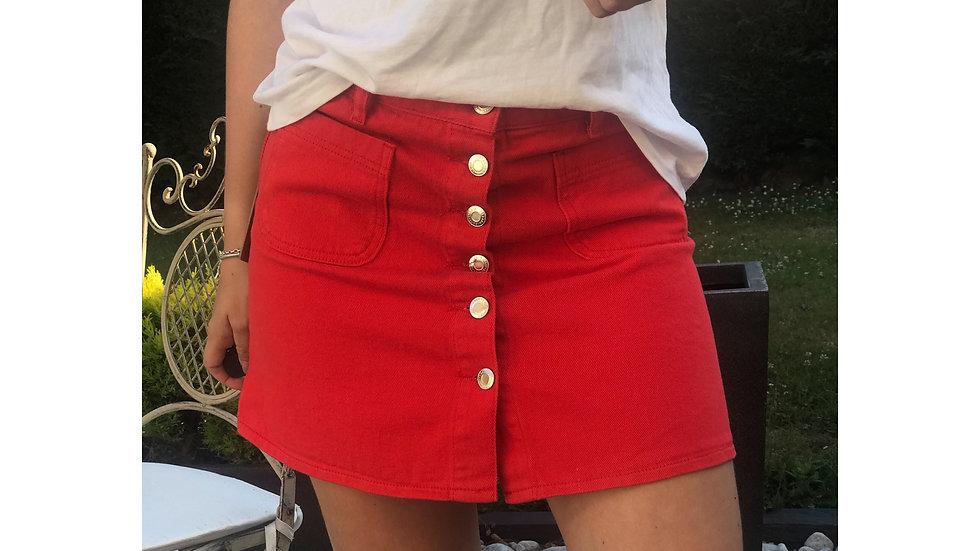 Jupe en jeans rouge