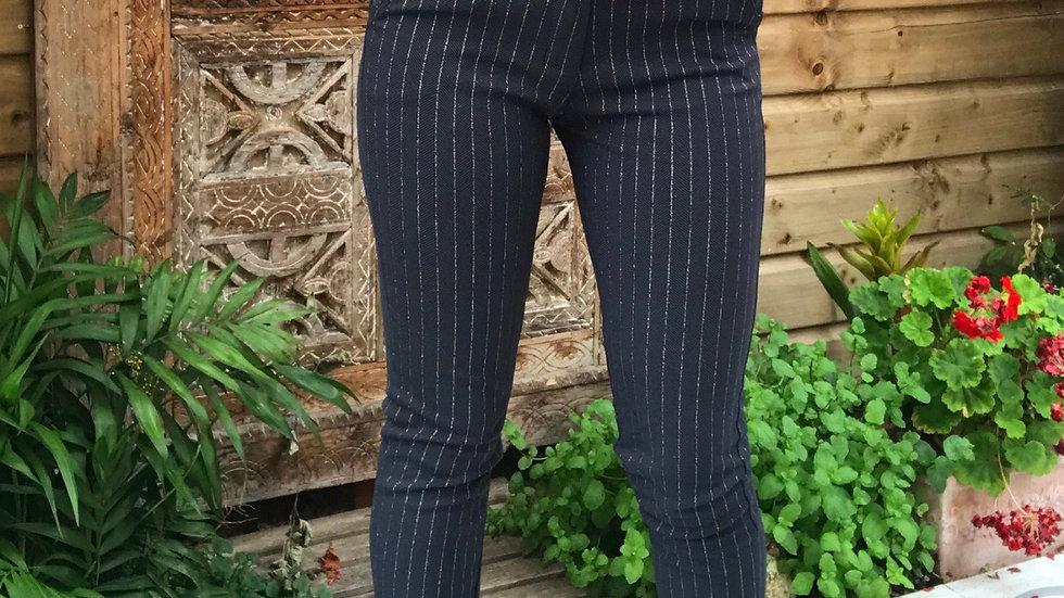 Pantalon rayure strass