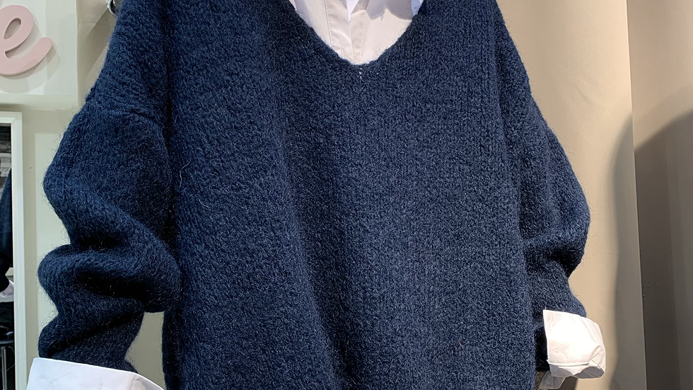 Pull grosse maille marine