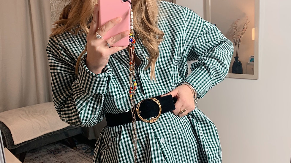 Chemise à carreaux verte