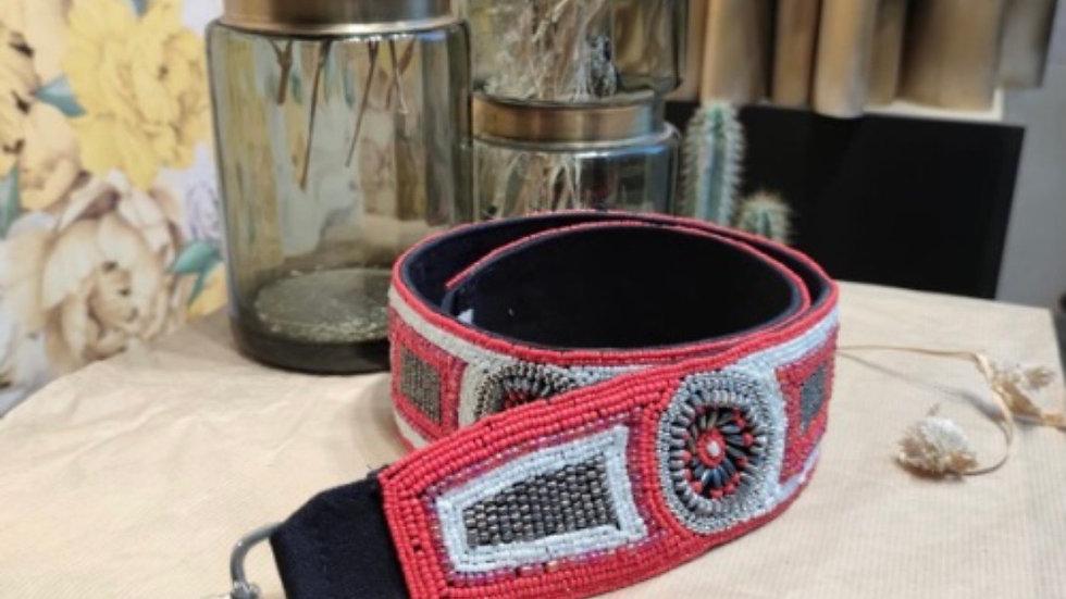 Bandoulière perle rouge