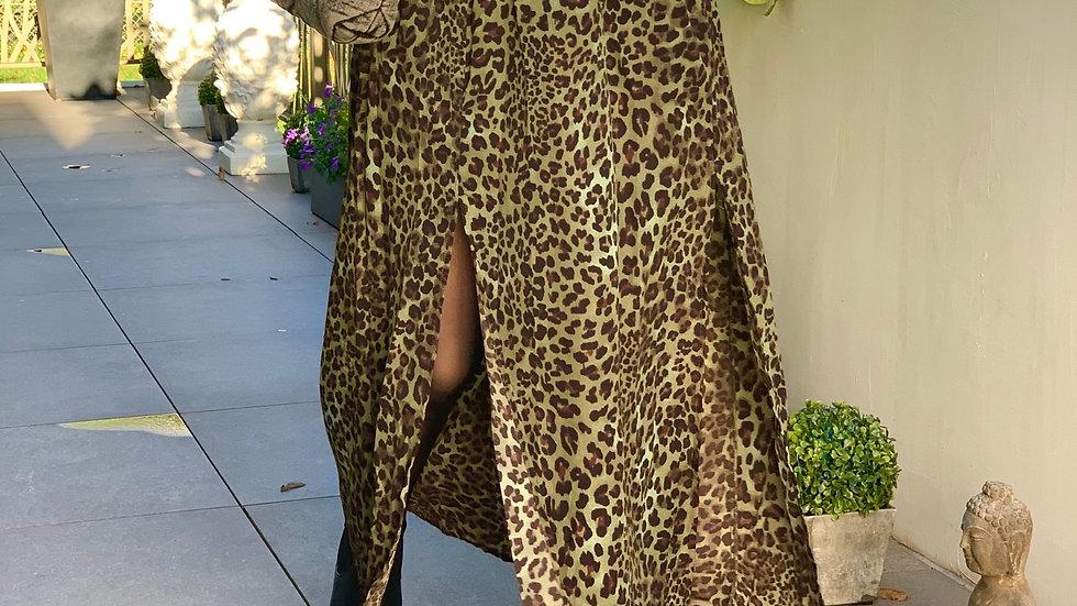 Jupe léopard kaki