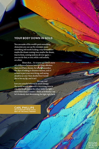 "Carl Phillips ""Your Body Down in Gold"" Broadside"
