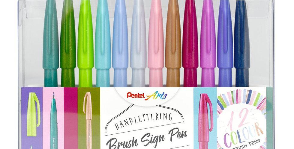 Pentel 12er-Set Brush Sign Pen, Pastel