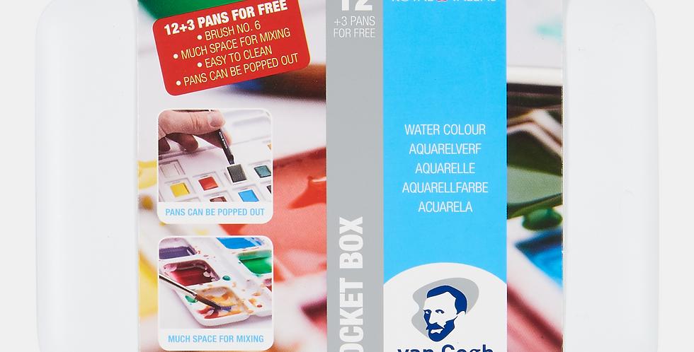 Van Gogh Aquarellfarben '13 Pocket box 12 Näpch.+3