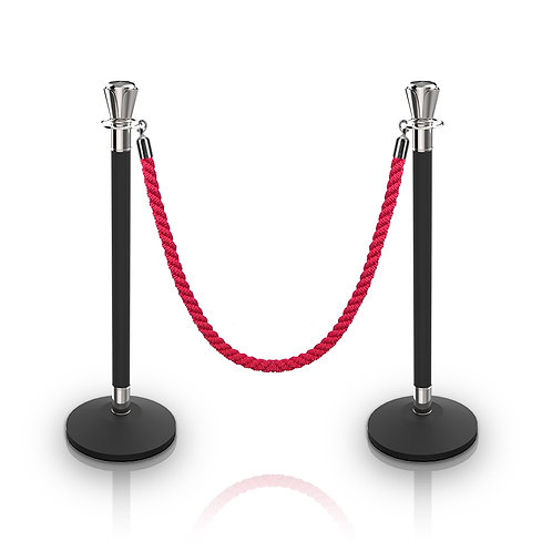 Stand-Collar Rope Stanchion (Black &Silver)