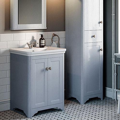 Ascot 600mm 2 Door Floor Vanity Unit Denim Ash