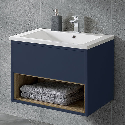 Lucca 600mm Wall Hung Vanity Unit Sapphire Blue