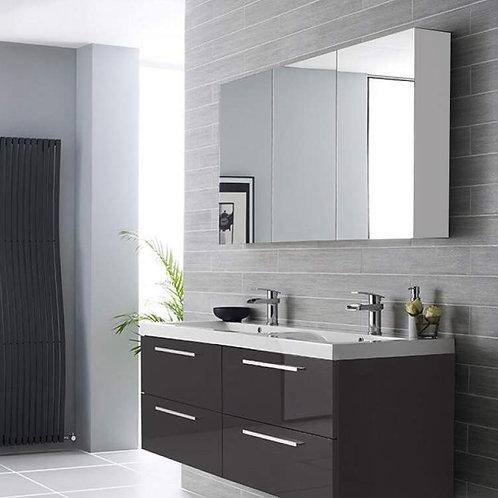 Hampton 3 Door Mirror Cabinet 800mm White