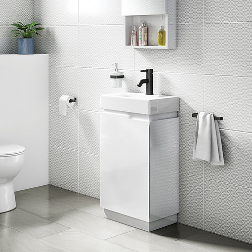 Quattro White 450mm Freestanding Vanity Unit