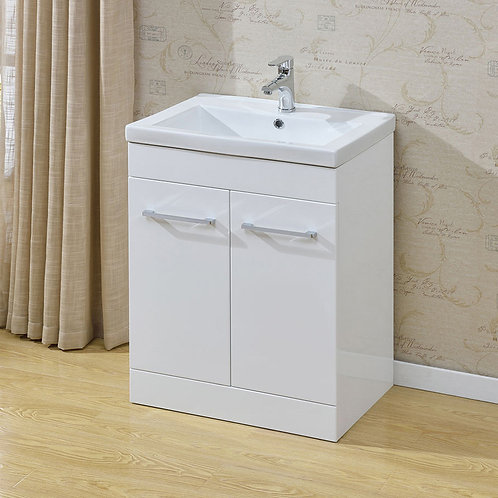 Eden White 600mm Freestanding Vanity Unit