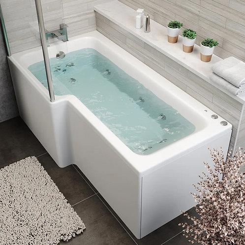 L Shape 1700 Left Hand 8 Jet Shower Bath with Bath Panel Bath Screen