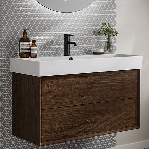 Visage 850mm Wall Hung Vanity Unit Dark Oak