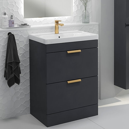 Stockholm Midnight Grey Freestanding Vanity Unit