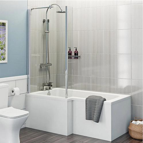 L Shape 1700 Left Hand Shower Bath with Bath Panel & Bath Screen