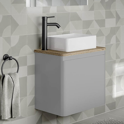Rivo Grey Wall Hung Vanity Unit With Oak Countertop