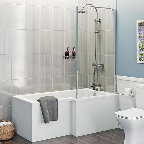 L Shape 1700 Right Hand Shower Bath with Bath Panel & Bath Screen
