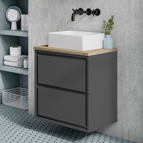 Sonia Anthracite Wall Hung Vanity Unit With Oak Countertop