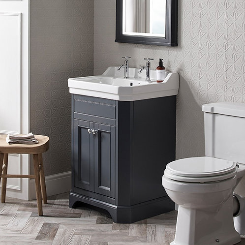Vitoria Dark Grey 600mm Freestanding Vanity Unit