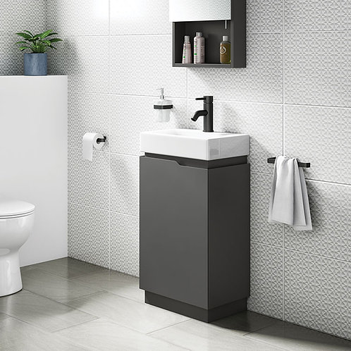 Quattro Grey 450mm Freestanding Vanity Unit