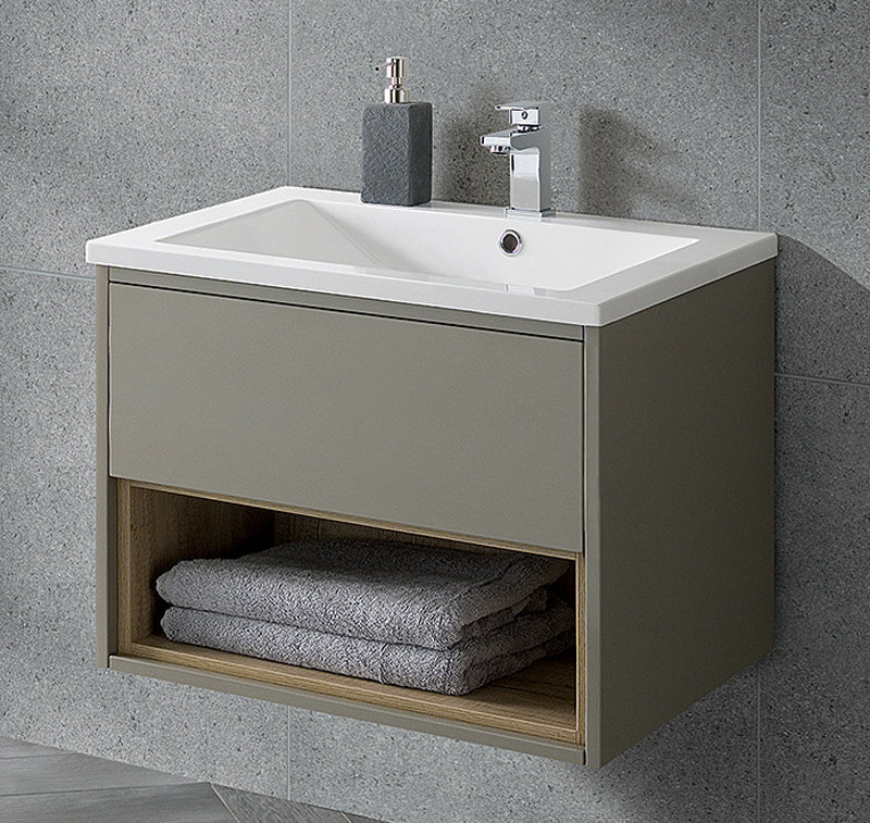 Lucca 600mm Wall Hung Vanity Unit Taupe Bathshed