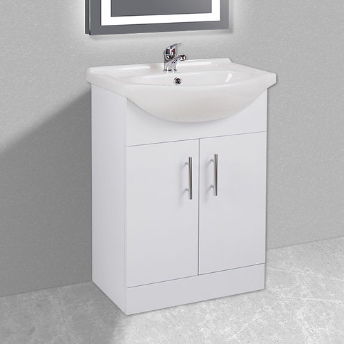 Livari White Collection 2 Door Floorstanding Vanity Unit