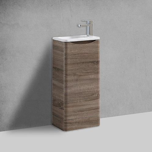 Sofia 400mm Cyan Oak Cloakroom Freestanding Vanity Unit