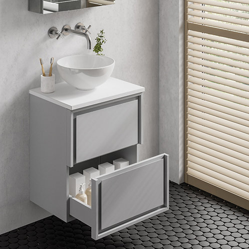 Sonia Grey Wall Hung Vanity Unit With White Countertop