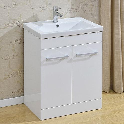 Evra 600mm Vanity Unit 2 Drawer White and Basin