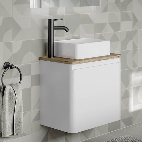 Rivo White Wall Hung Vanity Unit With Oak Countertop