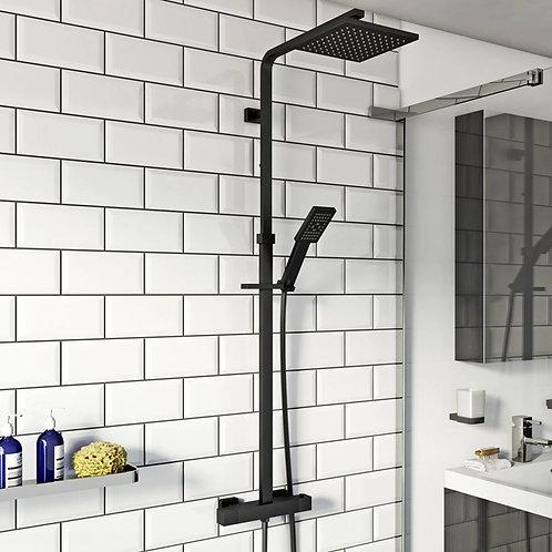 Nero Black Square Thermostatic Shower Kit