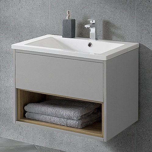 Lucca 600mm Wall Hung Vanity Unit Grey