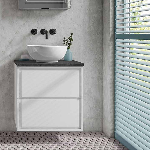 Sonia White Wall Hung Vanity Unit With Slate Countertop
