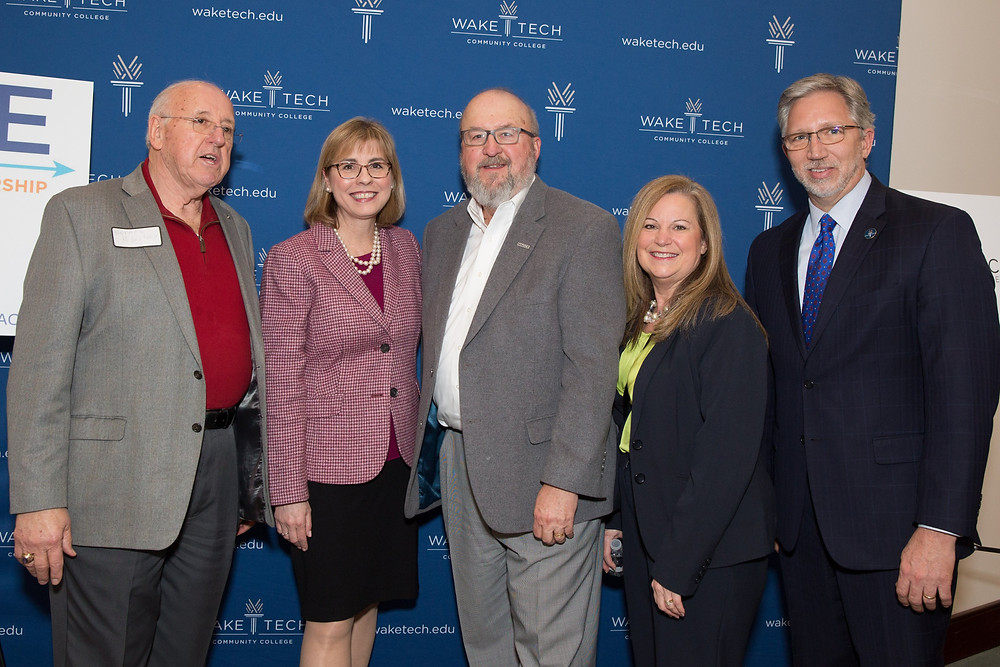 Pictured from left to right: Horace Robertson, EntreEd board member, Rebecca Corbin, NACCE President and CEO, Gene Coulson, EntreEd Executive Director, McDougal, EntreEd Board Member, & Scott Ralls, Wake Technical Community College President