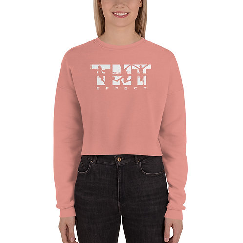 White Logo Women's Crop Sweatshirt