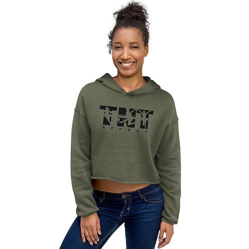 Black Logo Women's Crop Hoodie