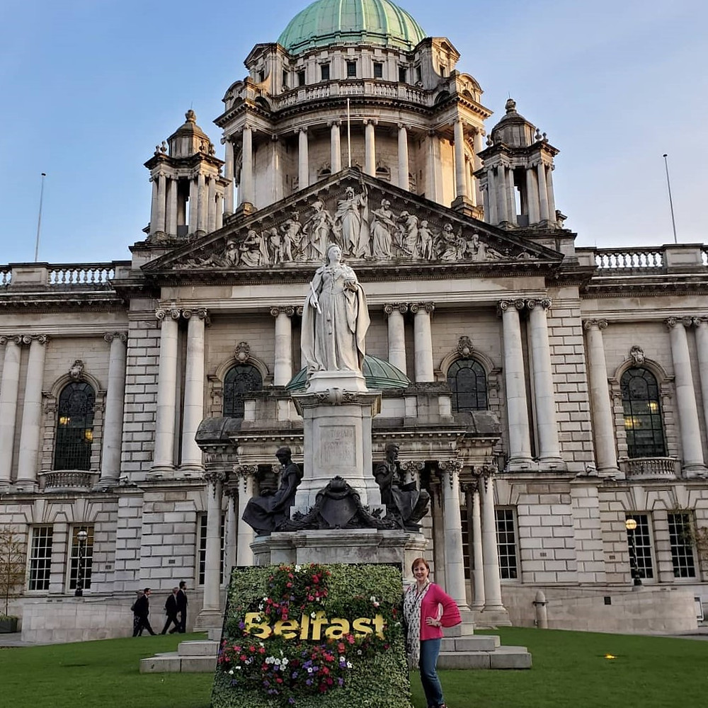 Queen Victoria's statue, Belfast City Hall, and me.