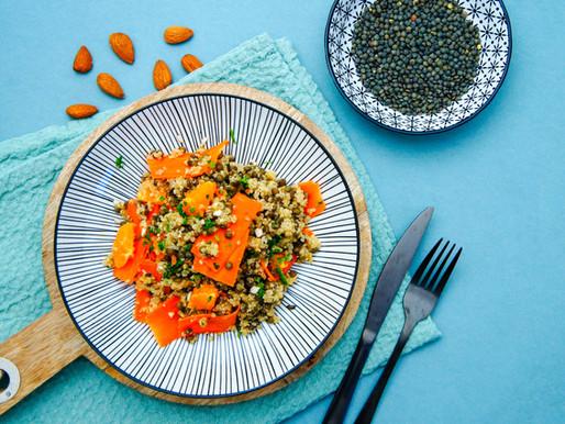 Salade de lentilles, quinoa et carottes