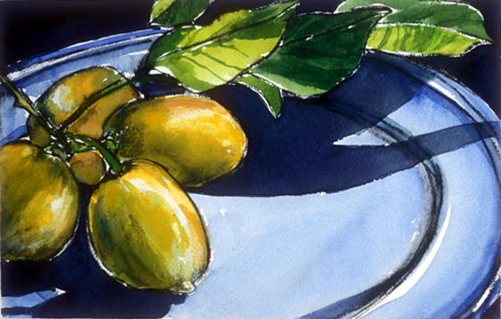 Four Lemons on a Blue Plate