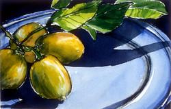 Four Lemons on a Blue Plate