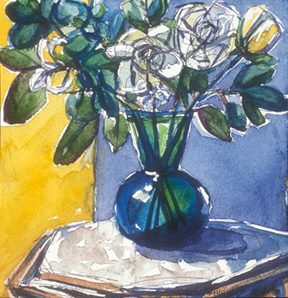 White Roses in Green Vase