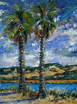 Two palms by the Napa River