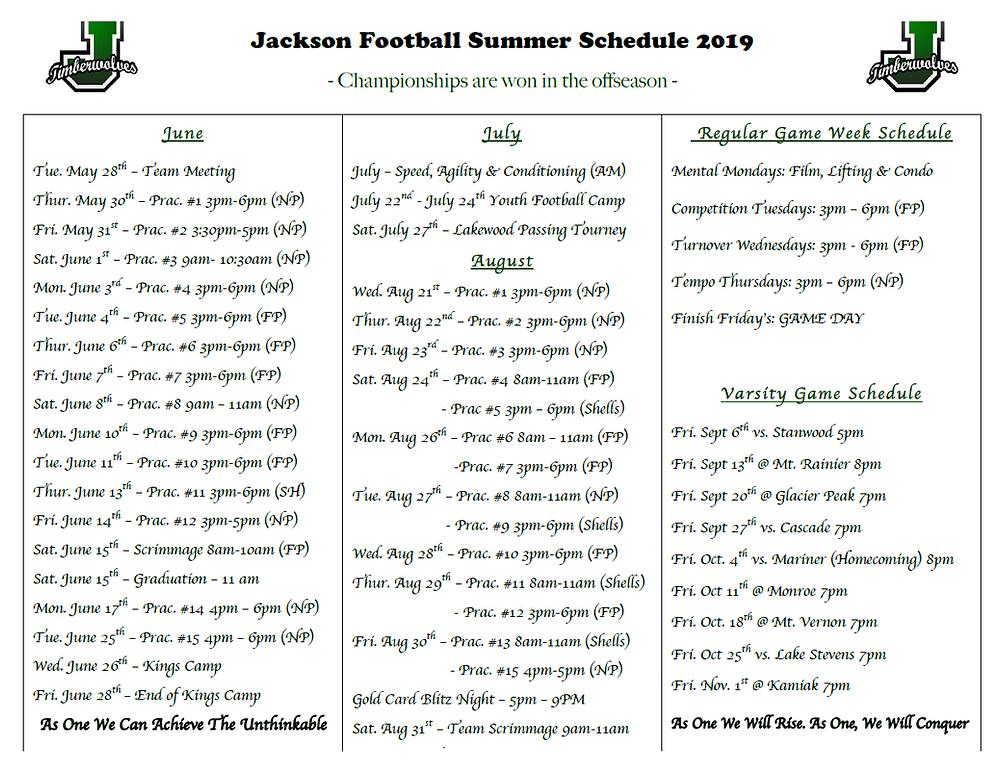 Here is an updates summer schedule!
